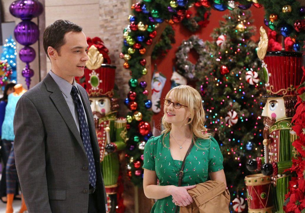 Erleben ein ganz besonderes Weihnachtsfest: Bernadette (Melissa Rauch, r.) und Sheldon (Jim Parsons, l.) ... - Bildquelle: Warner Bros. Television