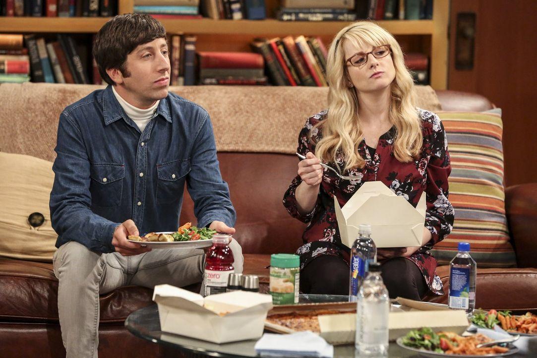 Eigentlich haben Howard (Simon Helberg, l.) und Bernadette (Melissa Rauch, r.) mit der kleinen Halley genug zu tun, doch dann wartet schon eine neue... - Bildquelle: Warner Bros. Television