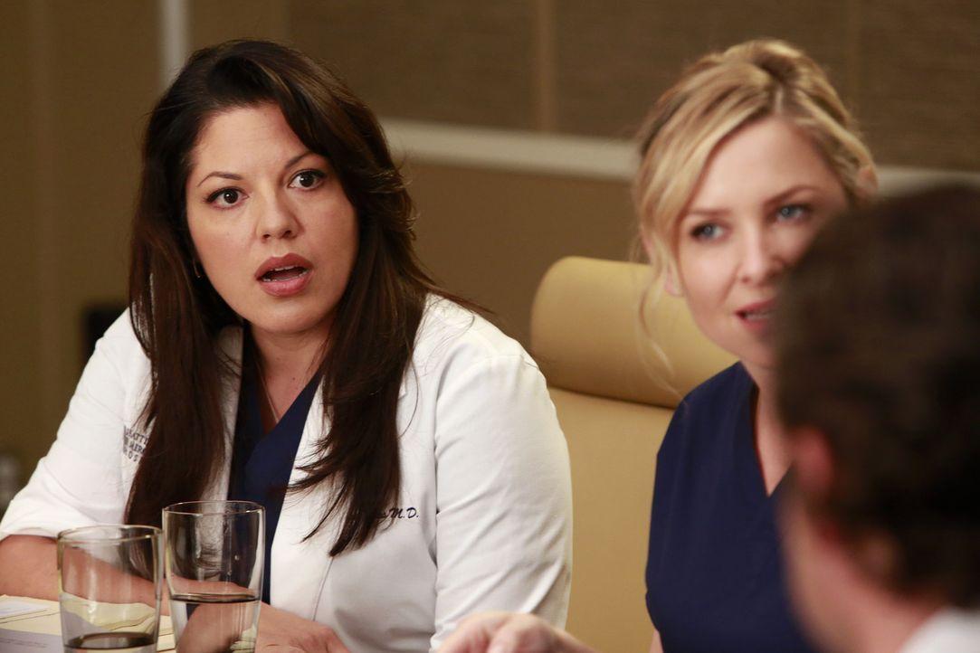 Callie (Sara Ramirez, l.) und Arizona (Jessica Capshaw, M.) sind gegen die Neubesetzung des Chefpostens. Derek (Patrick Dempsey, r.) versucht der Sa... - Bildquelle: ABC Studios