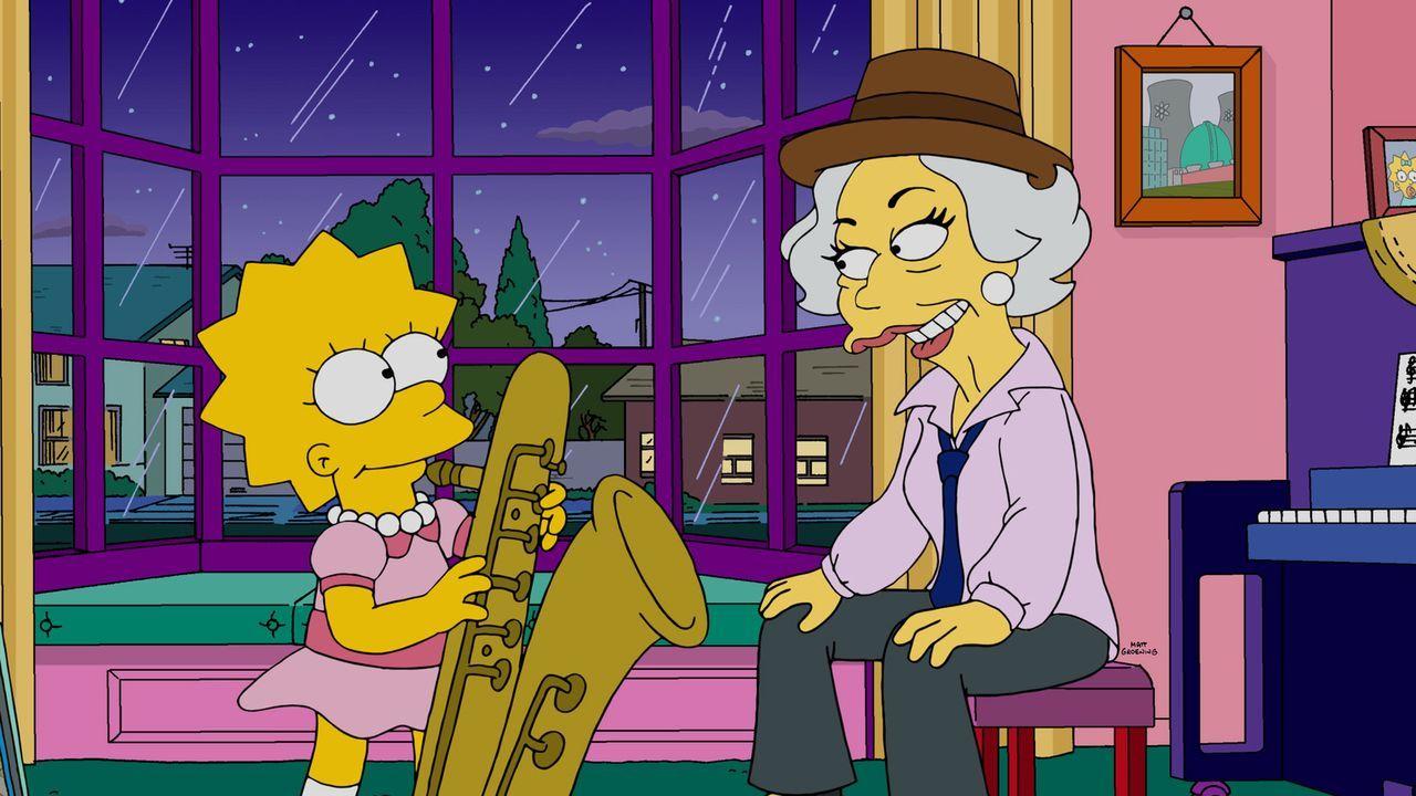 Als Homer beim Poker 5.000 Dollar an Broadway-Legende Laney Fontaine (r.) verliert, muss Lisa (l.) ihm aus der Patsche helfen ... - Bildquelle: 2015 Fox and its related entities.  All rights reserved.
