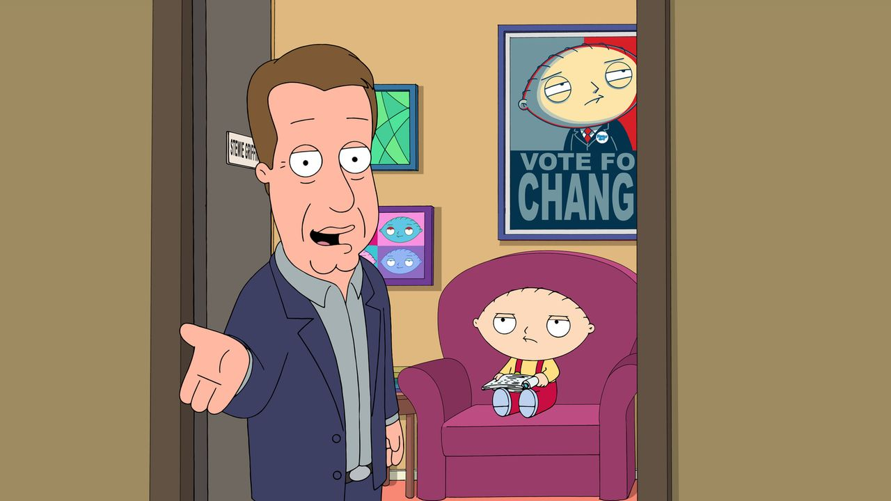 "Das passt Stewie (r.) gar nicht: Schauspieler James Woods (l.) gewährt einen Blick hinter die Kulissen der ""Family Guy"" Serie. - Bildquelle: 2016-2017 Fox and its related entities.  All rights reserved."