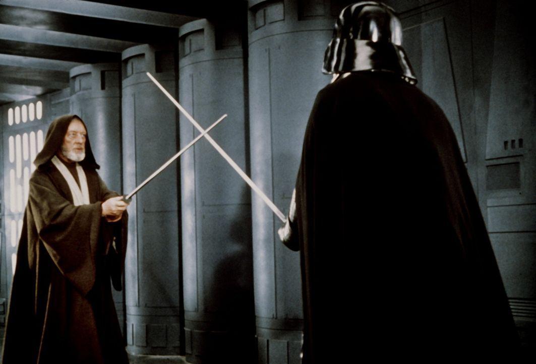 Mit den Waffen eines Jedis: Nach vielen dramatischen Abenteuern kommt es für Obi-Wan (Alec Guinness, l.) zu einem alles entscheidenden Laser-Schwer... - Bildquelle: Lucasfilm LTD. & TM. All Rights Reserved.