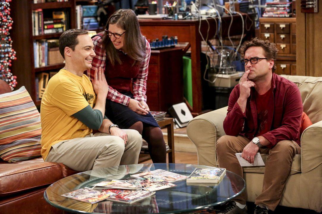 (v.l.n.r.) Sheldon (Jim Parsons); Amy (Mayim Bialik); Leonard (Johnny Galecki) - Bildquelle: Warner Bros. Television