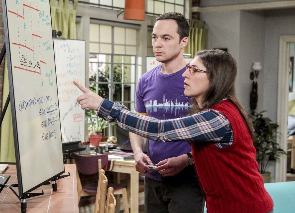 Auf der Suche nach einer Lösung stellen Sheldon (Jim Parsons, l.) und Amy (Mayim Bialik, r.) fest, was für ein gutes Team sie sind. Zumindest, wenn... - Bildquelle: 2016 Warner Brothers