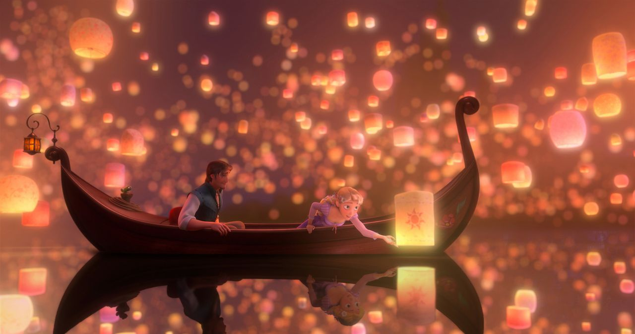 Eigentlich wollte Rapunzel (r.) ihren Turm nur verlassen, um zusammen mit dem Dieb Flynn Rider (l.) einem Himmelsphänomen nachzugehen, aber als sie... - Bildquelle: Disney.  All rights reserved