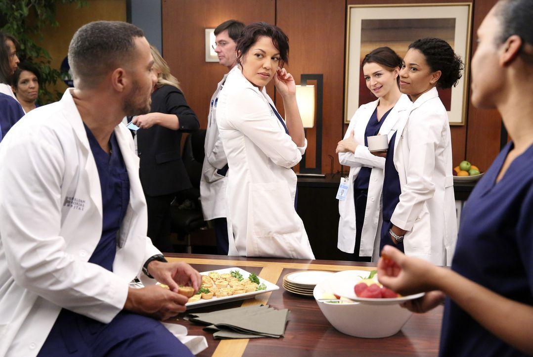 Haben für Bailey eine Überraschungsparty organisiert: Jackson (Jesse Williams, l.), Callie (Sara Ramirez, 2.v.l.), Amelia (Caterina Scorsone, 2.v.r.... - Bildquelle: ABC Studios