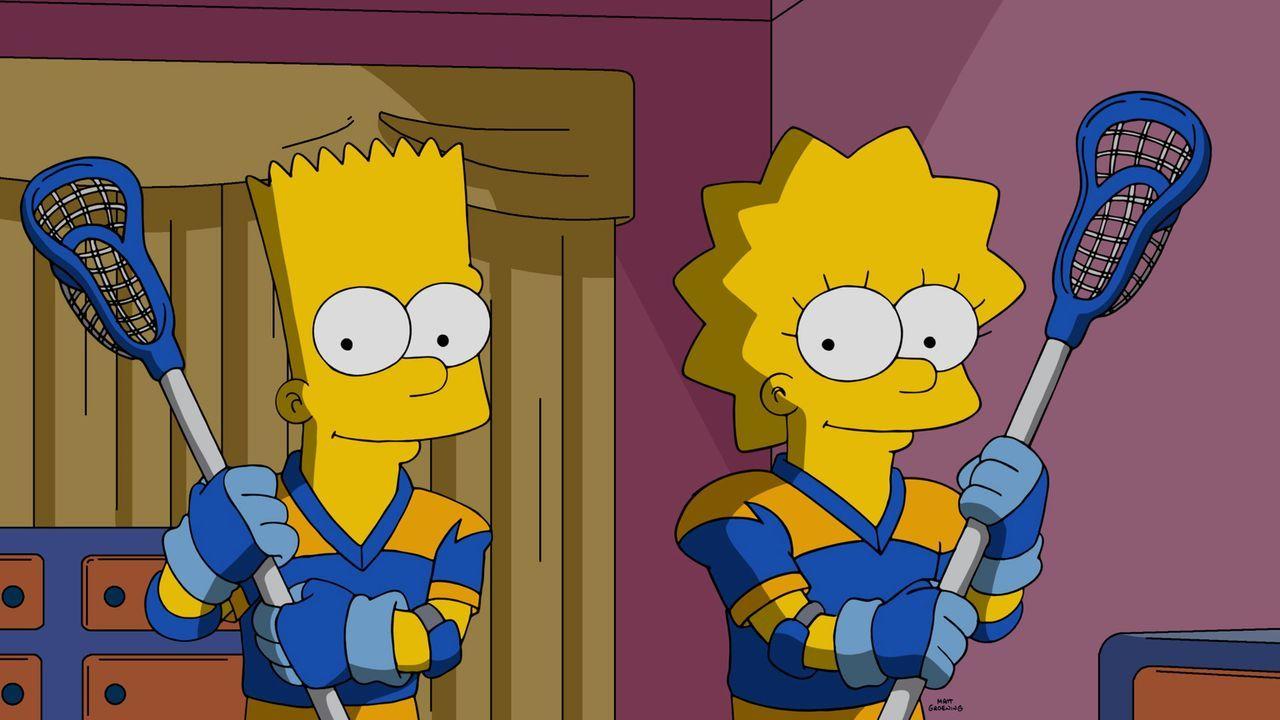 Das Lacrossespiel liegt Bart (l.) und Lisa (r.) perfekt, doch dann verschwindet ihr Coach kurz vor dem wichtigsten Spiel der Saison, den Meisterscha... - Bildquelle: 2016-2017 Fox and its related entities. All rights reserved.