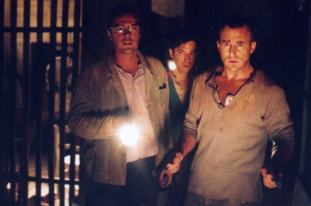 Harry (Heino Ferch, r.), Matthis (Sebastian Koch, l.) und Fred (Felix Eitner, M.) haben es geschafft. Der Tunnel endet in einem Keller in der Schön... - Bildquelle: Sat.1
