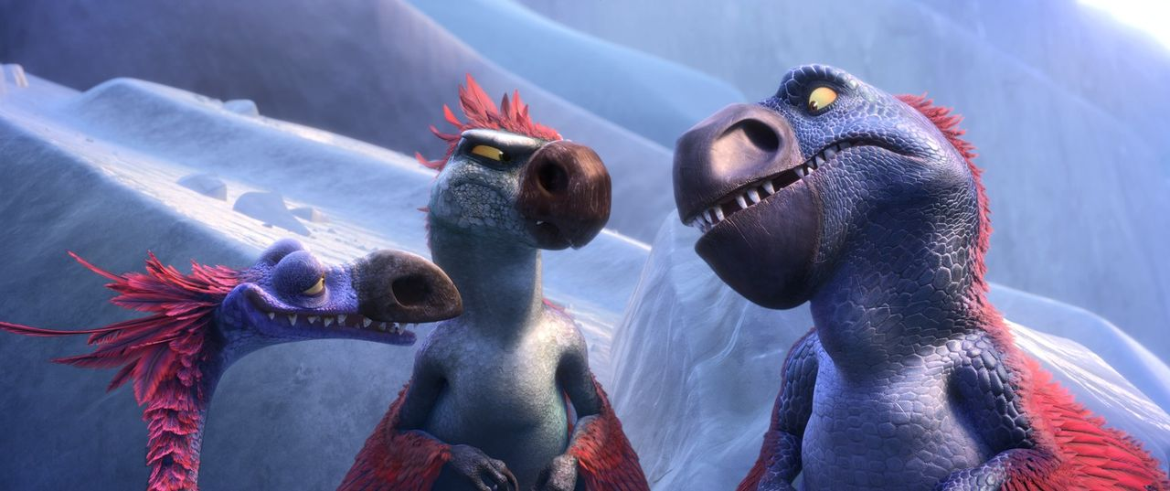 Die Dino-Vögel (v.l.n.r.) Roger, Gavin und Gertie machen Jagd auf Buck, nachdem dieser ihnen in der Dinosaurier-Welt das Leben schwer gemacht hat ... - Bildquelle: 2016 Twentieth Century Fox Film Corporation. All rights reserved.
