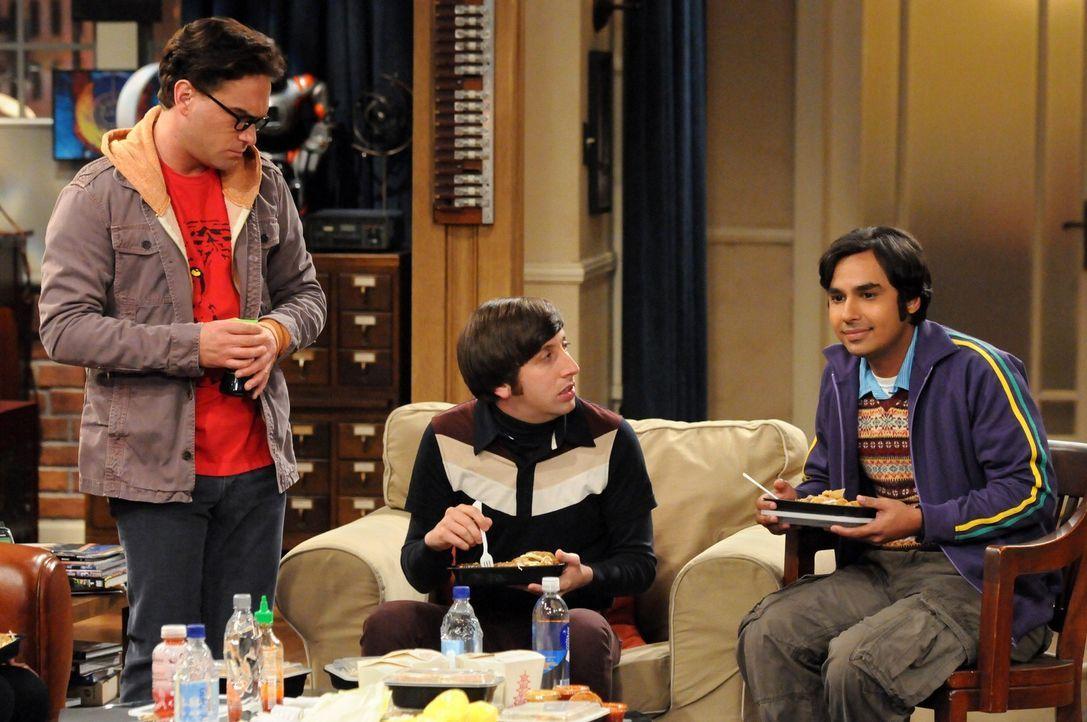 Sind von ihrem Freund Sheldon gerne mal genervt: Raj (Kunal Nayyar, r.), Leonard (Johnny Galecki, l.) und Howard (Simon Helberg, M.) ... - Bildquelle: Warner Bros. Television