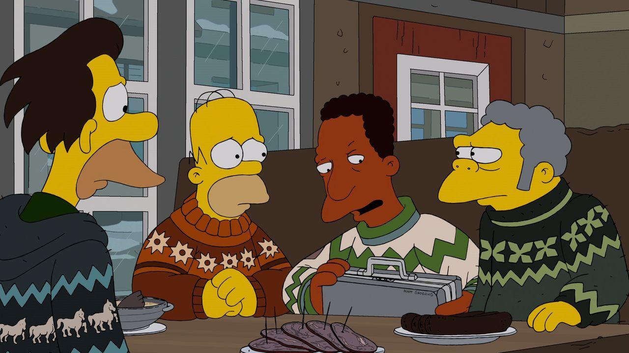 Als Homer (2.v.l.), Moe (r.), Carl (2.v.r.) und Lenny (l.) 200.000 Dollar bei der wöchentlichen Ziehung der Springfield-Lotterie gewonnen haben, wol... - Bildquelle: und TM Twentieth Century Fox Film Corporation - Alle Rechte vorbehalten