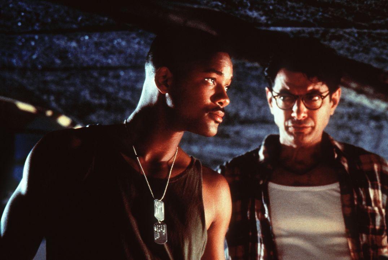 Gemeinsam erarbeiten der selbstbewusste Kampfpilot Steven Hiller (Will Smith, l.) und der zynische Informatiker David Levinson (Jeff Goldblum, r.) e... - Bildquelle: 20th Century Fox Film Corporation
