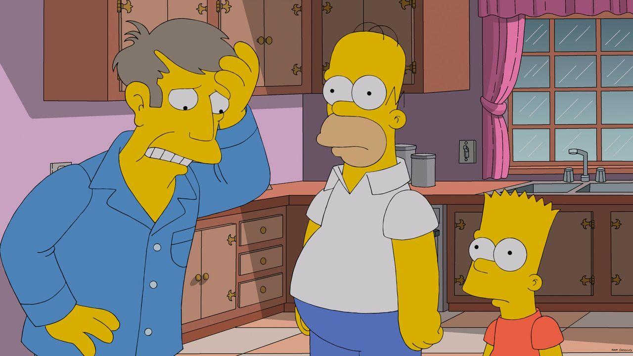 Als Rektor Skinner (l.) Bart (r.) nicht zum Schulausflug mitnimmt, will Bart sich gemeinsam mit Homer (M.) an ihm rächen. Und das mit Erfolg ... - Bildquelle: 2013 Twentieth Century Fox Film Corporation. All rights reserved.