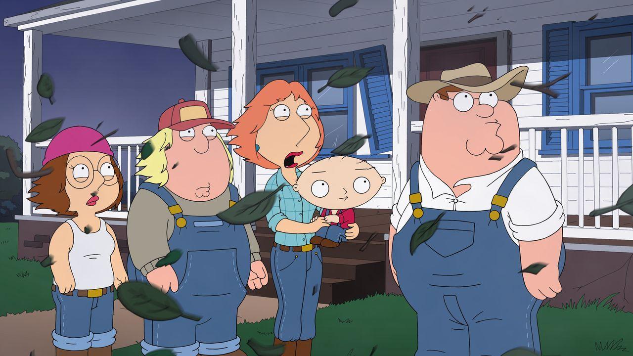 Weil es in Quahog immer krimineller zugeht, flüchten Chris (2.v.l.), Lois (M.), Megan (l.), Peter (r.) und Stewie (2.v.r.) aufs Land und werden Farm... - Bildquelle: 2013 Twentieth Century Fox Film Corporation. All rights reserved.
