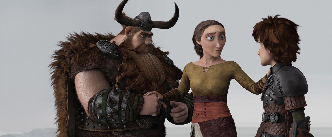 Jahrelang haben Haudrauf und sein Sohn Hicks geglaubt, dass Hicks Mutter Valka (M.) tot ist. Kaum sind sie wieder vereint, droht jedoch der Wikinger... - Bildquelle: 2014 DreamWorks Animation, L.L.C.  All rights reserved.