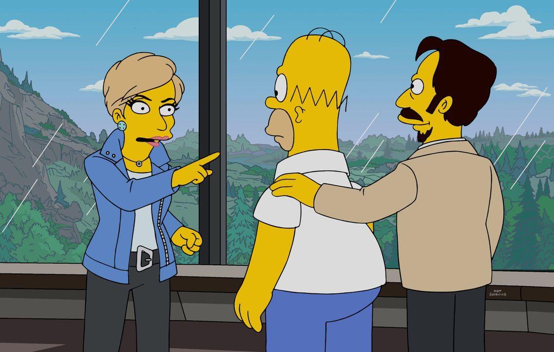 Bourbon Verlanders (r.) Idee, Roboter zu unterrichten, gefällt Homer (M.) und Suze Orman (l.) zunächst. Sie ahnen dicht, was wirklich für ein Spiel... - Bildquelle: 2016-2017 Fox and its related entities. All rights reserved.