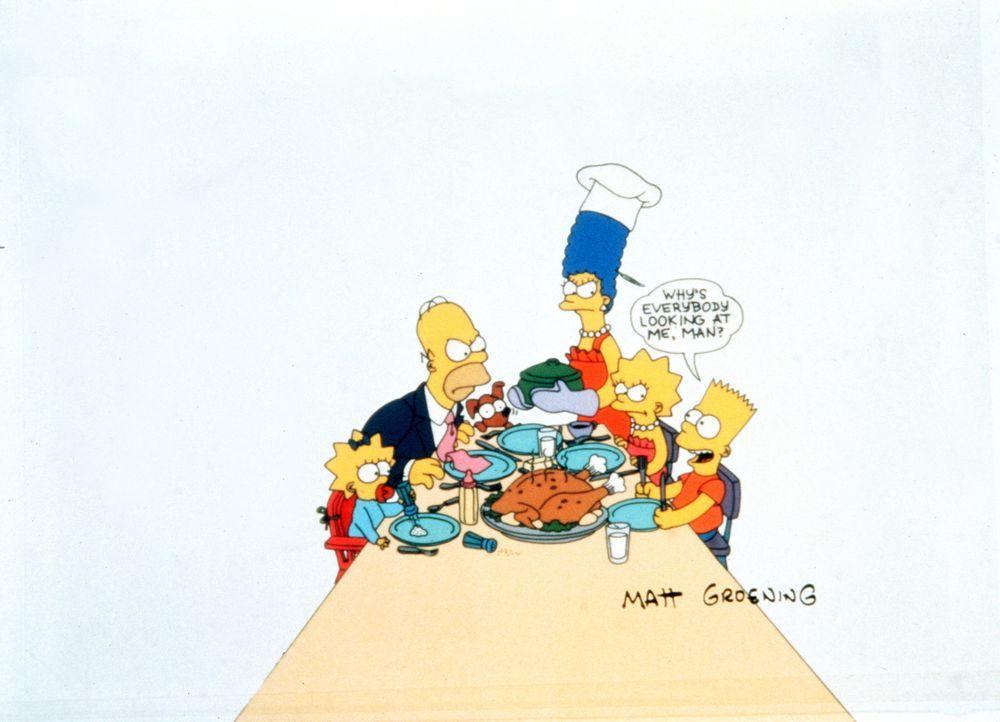 (1. Staffel) - Der kleine Bart (r.) bringt den Rest der Familie, (v.l.n.r.) Maggie, Homer, Marge und Lisa, des Öfteren zur Weißglut. - Bildquelle: und TM Twentieth Century Fox Film Corporation - Alle Rechte vorbehalten