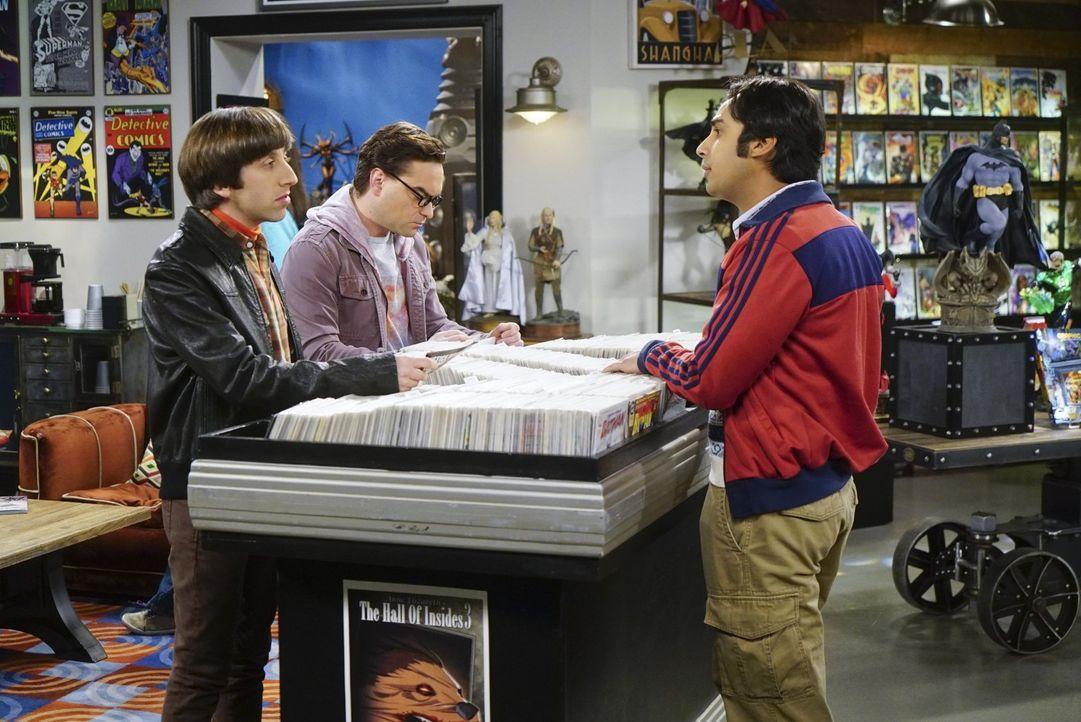 Howard (Simon Helberg, l.), Leonard (Johnny Galecki, 2.v.l.) und Raj (Kunal Nayyar, r.) haben eine brillante Idee, wie sie Sheldon zum Geburtstag ei... - Bildquelle: 2016 Warner Brothers