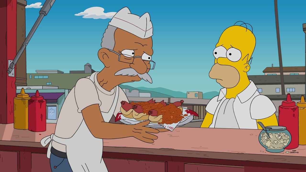 Für Homer (r.) bricht eine Welt zusammen, als in ganz Springfield ein Gesundheitswahn ausbricht. Daher sucht er Zuflucht am einzigen Ort, der noch f... - Bildquelle: 2016-2017 Fox and its related entities. All rights reserved.