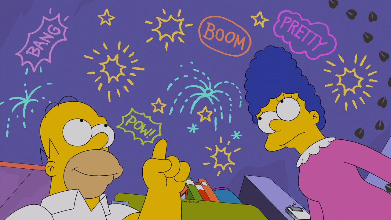 Als Homer (l.) in der Zeitung liest, dass die Stadt das Feuerwerk zum diesjährigen Nationalfeiertag abgeblasen hat, fantasiert er darüber, dass er s... - Bildquelle: 2014 Twentieth Century Fox Film Corporation. All rights reserved.