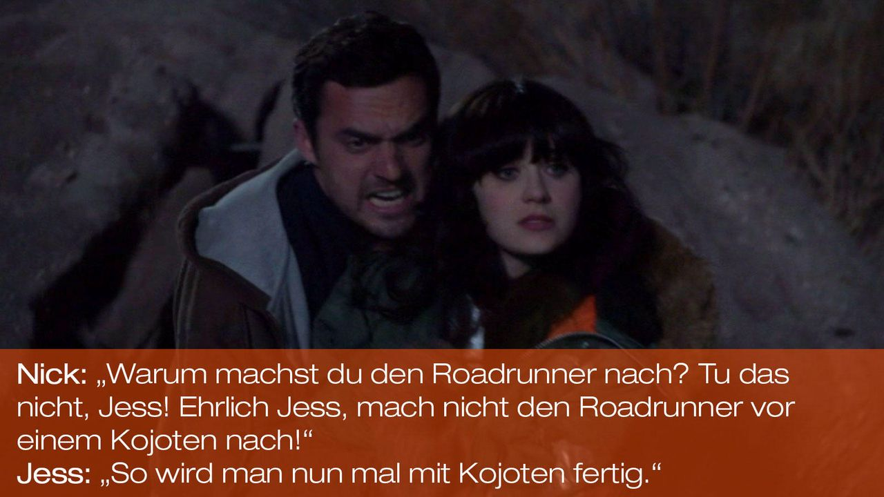 New Girl - Zitate - Staffel 1 Folge 24: Nick (Jake Johnson), Jess (Zooey Deschanel) - Bildquelle: 20th Century Fox
