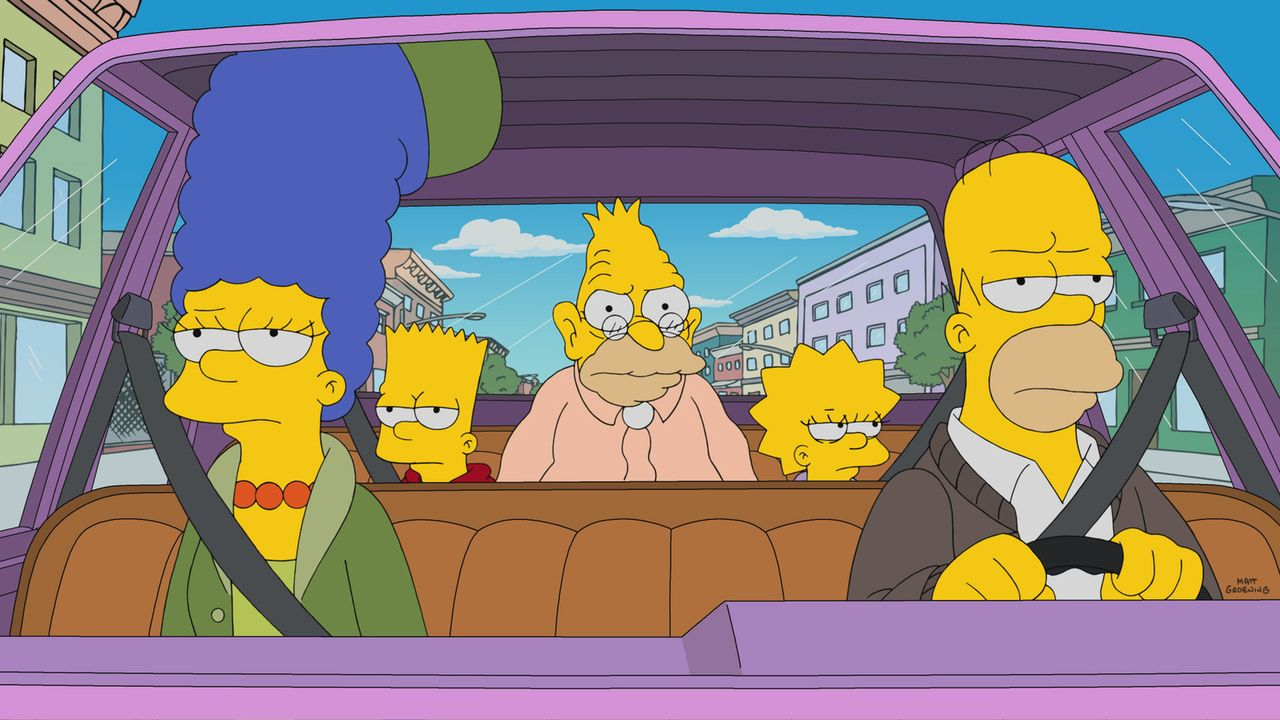 (v.l.n.r.) Marge; Bart; Grampa; Lisa; Homer - Bildquelle: 2017-2018 Fox and its related entities.  All rights reserved.