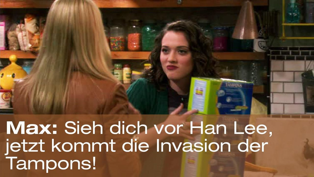 2-broke-girls-zitate-staffel1-episode-13-geheime-zutat-max-tampons-warnerpng 1600 x 900 - Bildquelle: Warner Brothers Entertainment Inc.