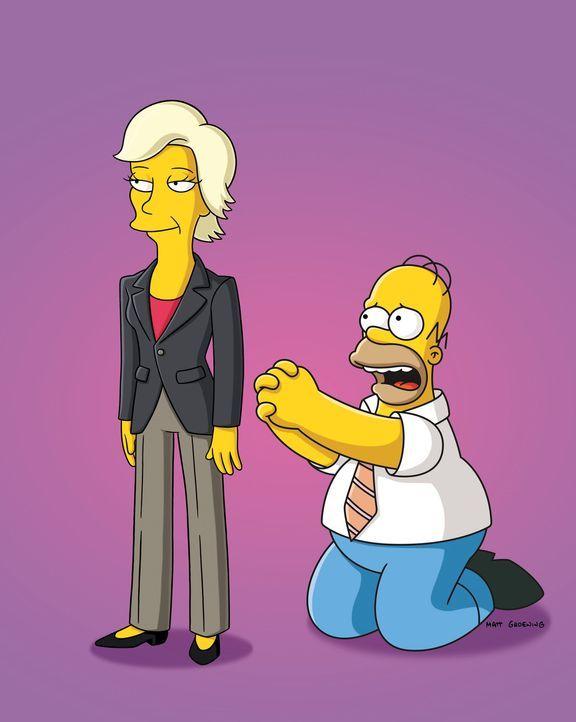 Roz (l.) aus Ohio wird Homers neue Assistentin. Im Nu lässt sich der naive Homer (r.) von der charmanten Frau einwickeln, doch schon bald muss er e... - Bildquelle: und TM Twentieth Century Fox Film Corporation - Alle Rechte vorbehalten