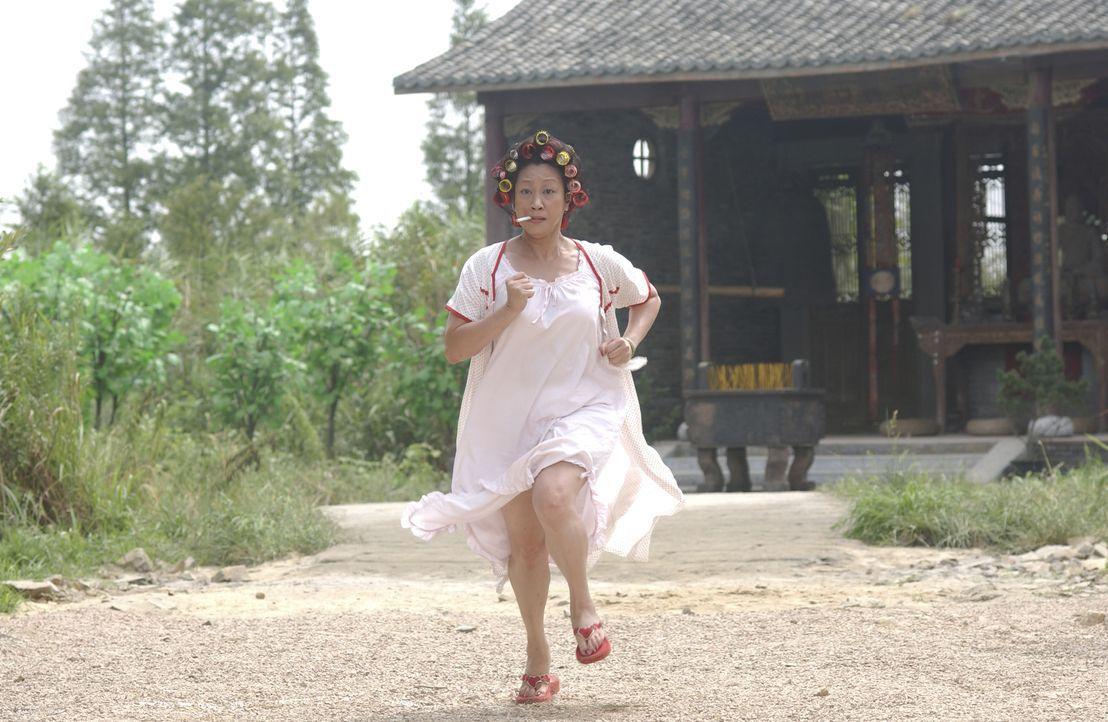 """Mit der Hausbesitzerin (Qiu Yuen) der """"Residenz Schweinestall"""" ist nicht zu spaßen. Sie verteidigt ihr Hab und Gut nämlich nicht allein, sondern mit... - Bildquelle: 2004 Columbia Pictures Film Production Asia Limited. All Rights Reserved."""