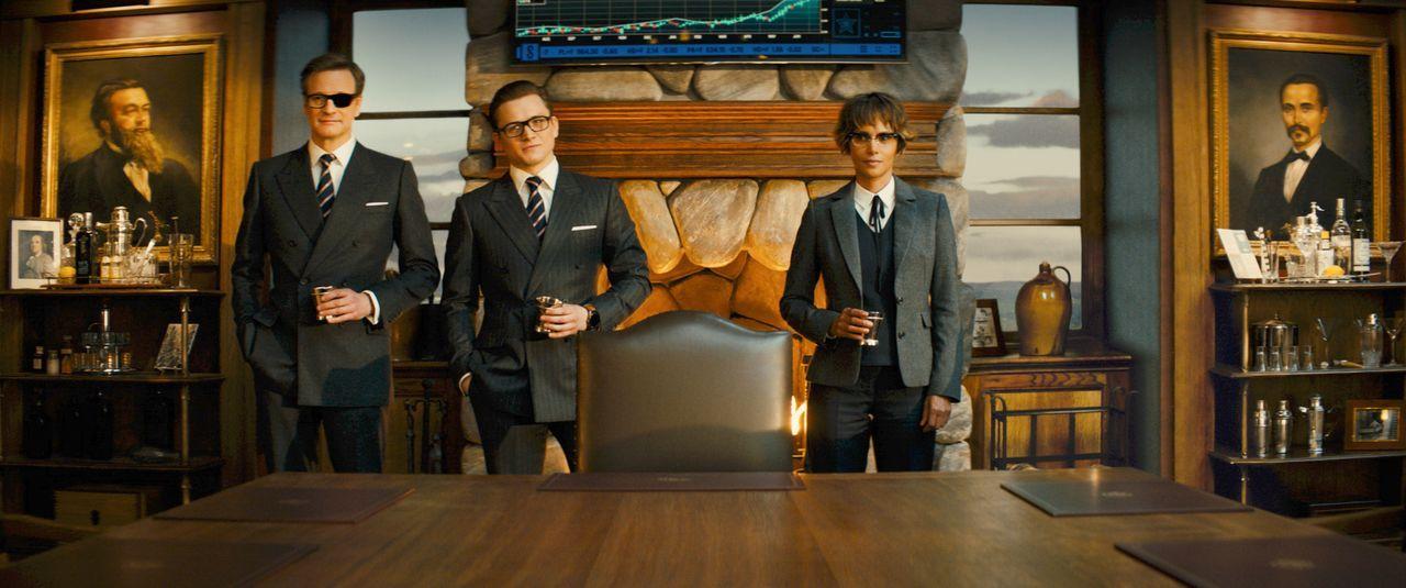(v.l.n.r.) Harry Hart (Colin Firth); Eggsy (Taron Egerton); Ginger (Halle Berry) - Bildquelle: 2017 Twentieth Century Fox Film Corporation. All rights reserved.