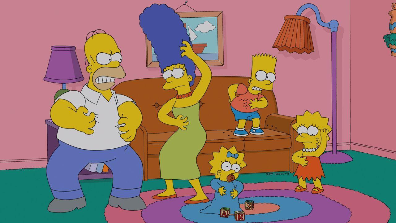 Ganz Springfield ist von einer Bettwanzen-Plage befallen, seitdem Homer (l.), Marge (2.v.l.), Lisa (r.), Maggie (M.) und Bart (2.v.r.) in New York e... - Bildquelle: und TM Twentieth Century Fox Film Corporation - Alle Rechte vorbehalten