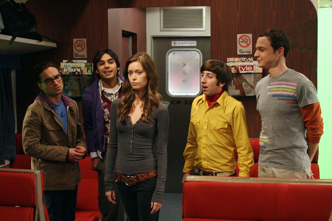 In San Francisco findet eine Fachkonferenz statt, zu der Sheldon (Jim Parsons, r.), Leonard (Johnny Galecki, l.), Rajesh (Kunal Nayyar, 2.v.l.) und... - Bildquelle: Warner Bros. Television