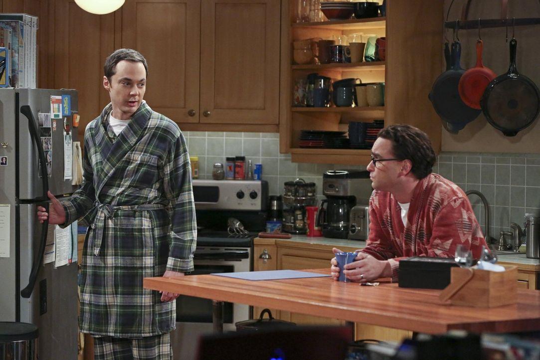 Leonard (Johnny Galecki, r.) und Sheldon (Jim Parsons, l.) haben beide mit dem vermeidlichen Ende ihrer jeweiligen Beziehungen zu kämpfen ... - Bildquelle: 2015 Warner Brothers