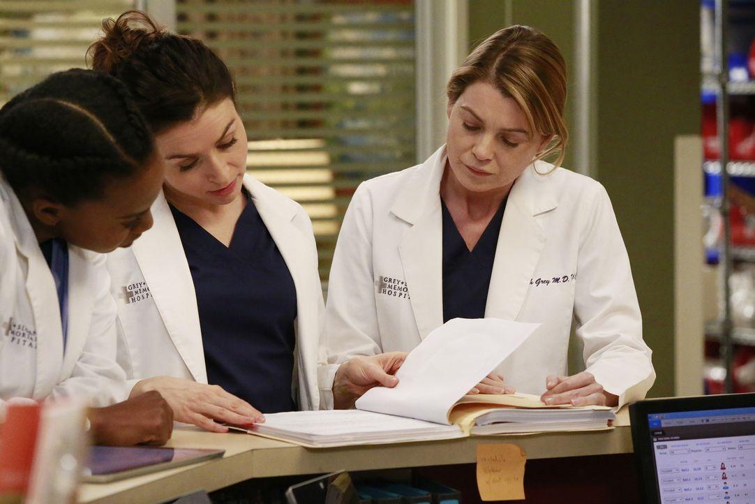 Ein harter Arbeitstag wartet auf Amelia (Caterina Scorsone, M.), Stephanie (Jerrika Hinton, l.) und Meredith (Ellen Pompeo, r.) ... - Bildquelle: Mitchell Haaseth ABC Studios
