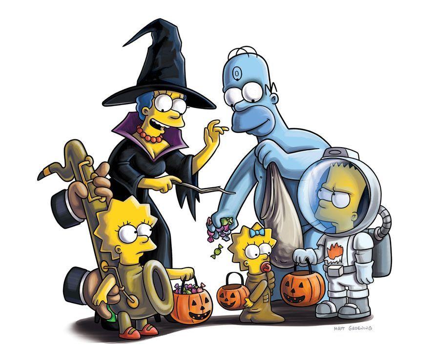 """""""TREEHOUSE OF HORROR XXII"""" - Gruselige Geschichten mit Lisa (l.), Marge (2.v.l.), Maggie (M.), Homer (2.v.r.) und Bart (r.) Simpson ... - Bildquelle: und TM Twentieth Century Fox Film Corporation - Alle Rechte vorbehalten"""
