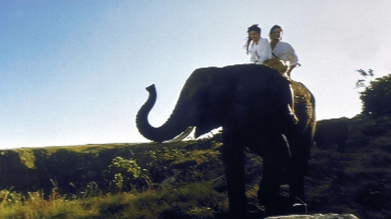 Auf dem Rücken eines braven Elefanten trotzen Tarzan (Casper Van Dien, hinten) und Jane (Jane March, vorne) allen Gefahren ... - Bildquelle: VCL Communications