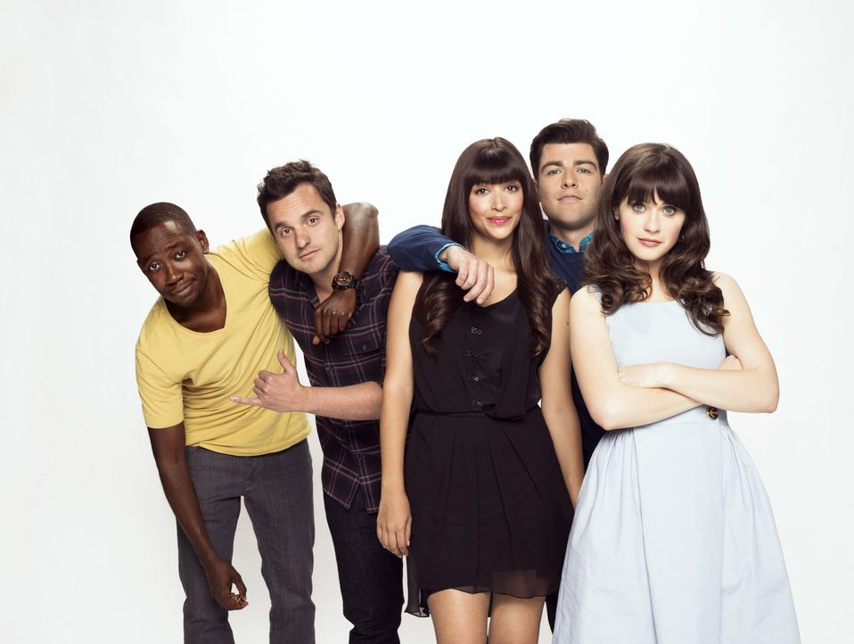 (3. Staffel) - Die quirlige Lehrerin Jessica (Zooey Deschanel, r.) bringt Schwung in das Leben von Cece (Hannah Simone, M.), Schmidt (Max Greenfield... - Bildquelle: TM &   2013 Fox and its related entities. All rights reserved.