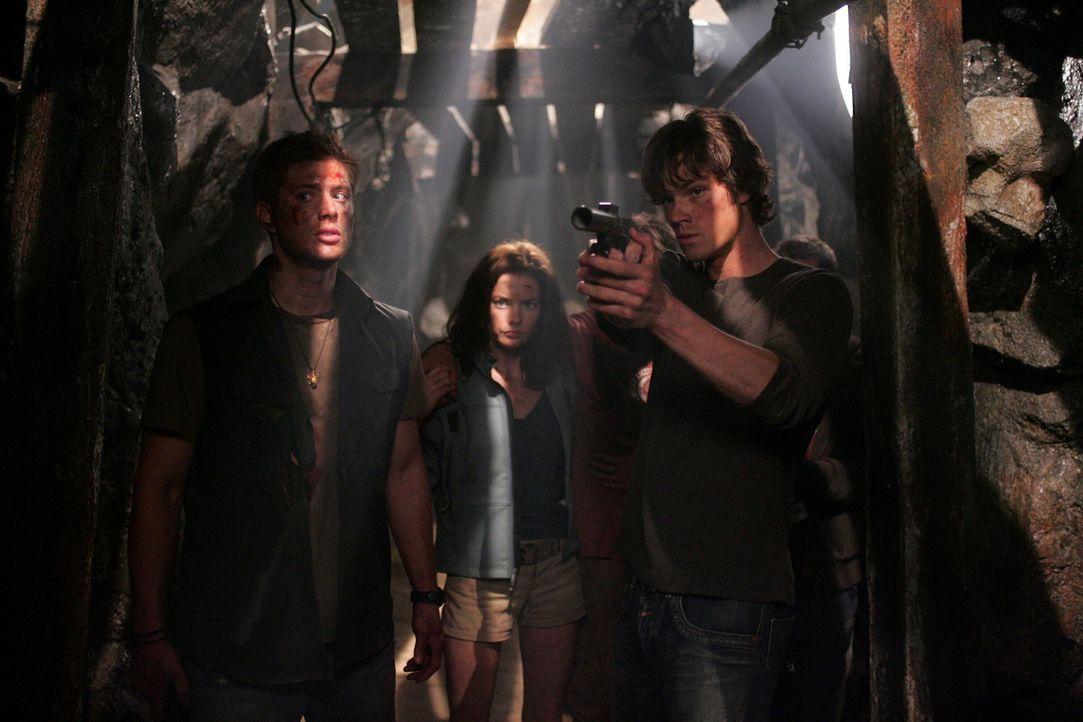 Auf der Suche nach ihrem Vater John treffen Sam (Jared Padalecki, r.) und Dean (Jensen Ackles, l.) auf Haley (Gina Holden, M.), die sich große Sorg... - Bildquelle: Warner Bros. Television