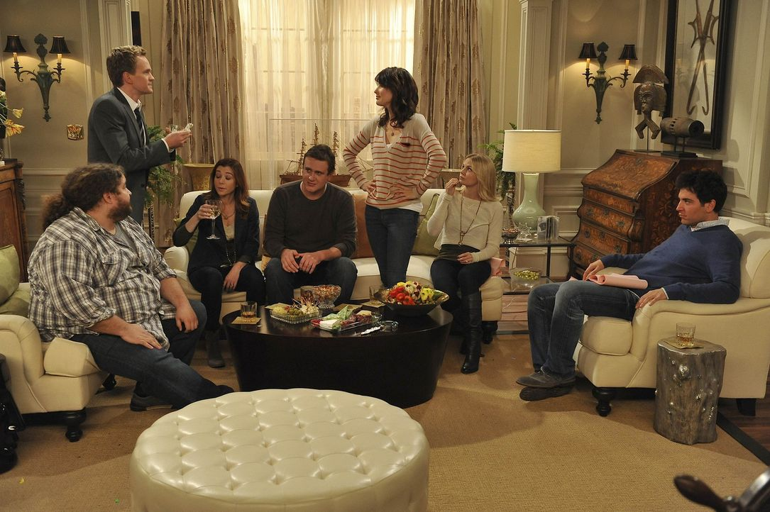 Verbringen gemeinsam Thanksgiving: (v.l.n.r.) Blitz (Jorge Garcia), Barney (Neil Patrick Harris), Lily (Alyson Hannigan), Marshall (Jason Segel), Ro... - Bildquelle: 20th Century Fox International Television