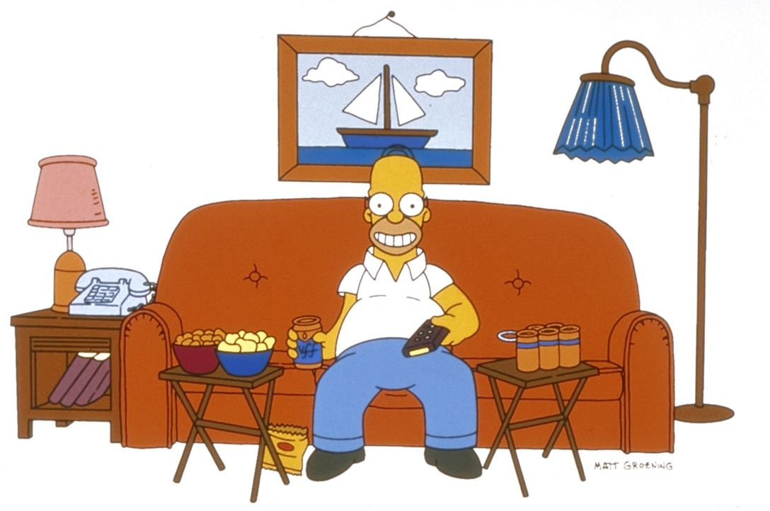 (10. Staffel) - Homer Simpson bei seiner Lieblingsbeschäftigung: fernsehen. - Bildquelle: und TM Twentieth Century Fox Film Corporation - Alle Rechte vorbehalten