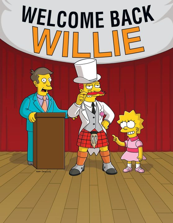 Lisa Simpson (r.) hat den Schulhausmeister Willie (M.) zu einem Gentleman gemacht. Schul-Direktor Skinner (l.) ist begeistert ... - Bildquelle: und TM Twentieth Century Fox Film Corporation - Alle Rechte vorbehalten