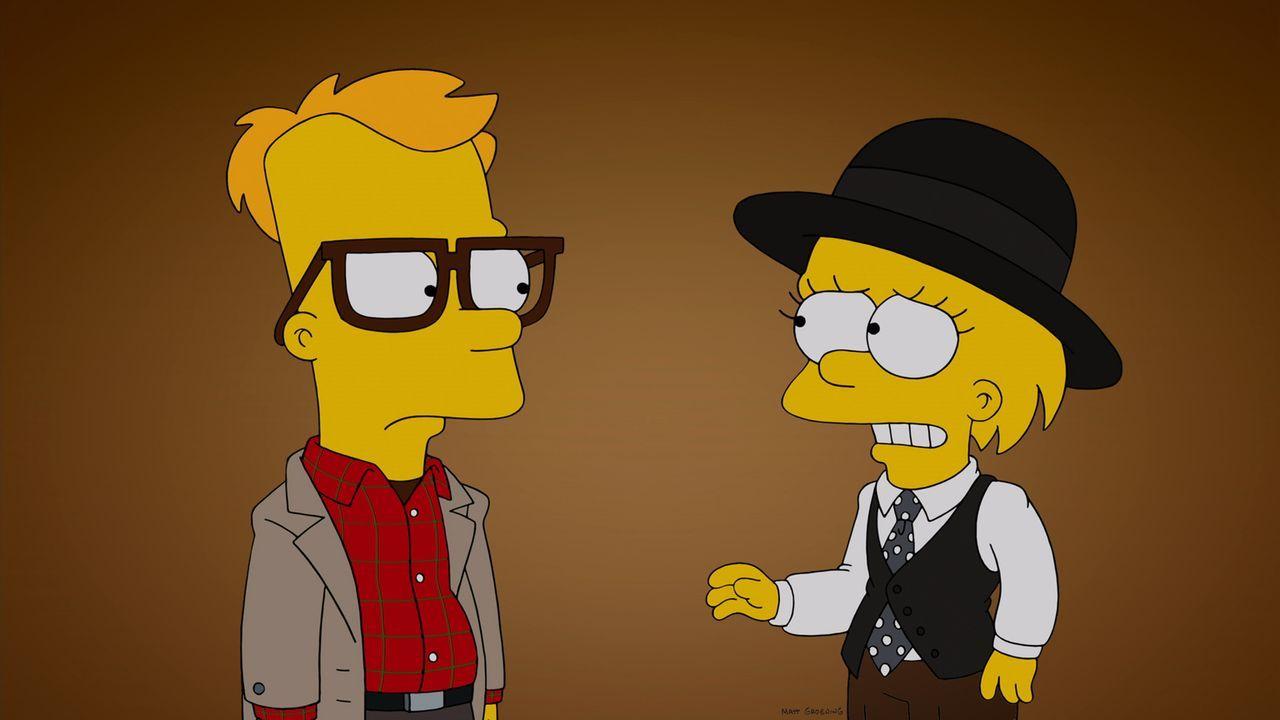 Bart (l.) erzählt Lisa (r.) im Woody-Allen-Stil seine Liebesgeschichte mit Mary ... - Bildquelle: und TM Twentieth Century Fox Film Corporation - Alle Rechte vorbehalten