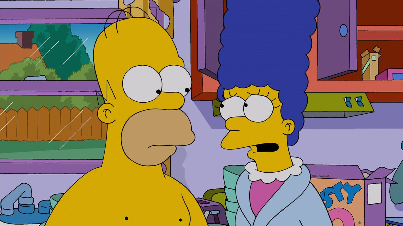 Marge (r.) macht sich große Sorgen um Homer (l.), weil er so ungesund lebt, und redet ihm immer wieder ins Gewissen. Obwohl Homer gelobt, sich zu be... - Bildquelle: 2013 Twentieth Century Fox Film Corporation. All rights reserved.