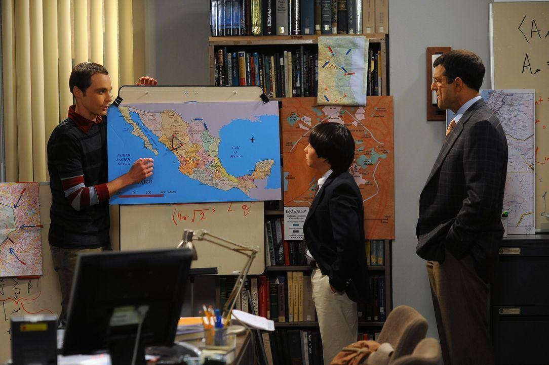 (v.l.n.r.) Sheldon Cooper (Jim Parsons); Dennis Kim (Austin Lee); Dr. Eric Gablehauser (Mark Harelik) - Bildquelle: Warner Bros. Television