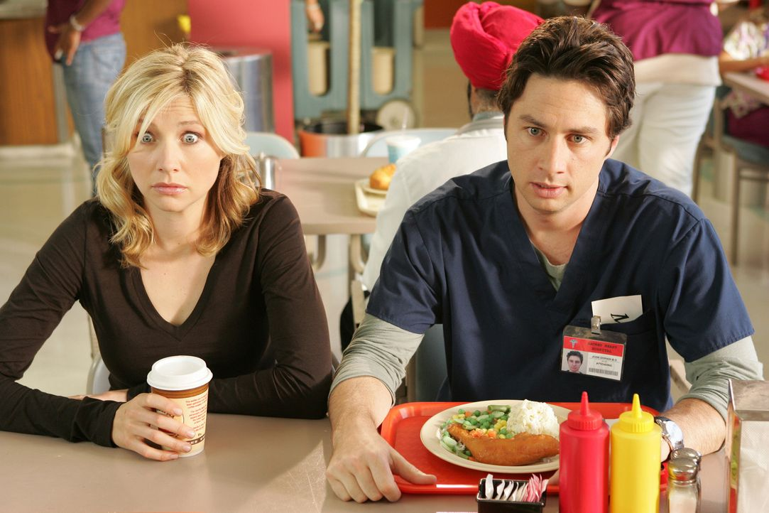 Genießen ihre Pause: J.D. (Zach Braff, r.) und Elliot (Sarah Chalke, l.) ... - Bildquelle: Touchstone Television