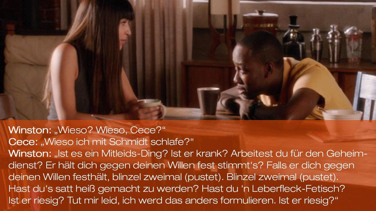 New Girl - Zitate - Staffel 1 Folge 19 - Cece (Hannah Simone) und Winston (Lamorne Morris) 1600 x 900 - Bildquelle: 20th Century Fox