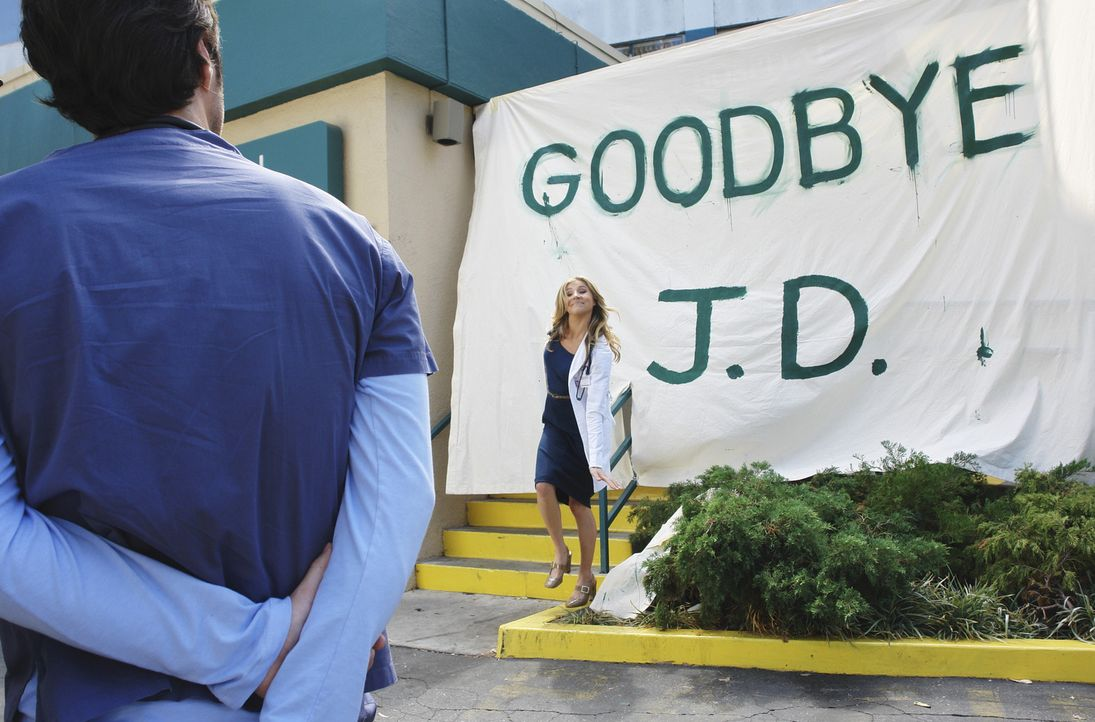 Elliot (Sarah Chalke, r.) hat eine besondere Überraschung für J.D. (Zach Braff, l.) zum Abschied ... - Bildquelle: Touchstone Television