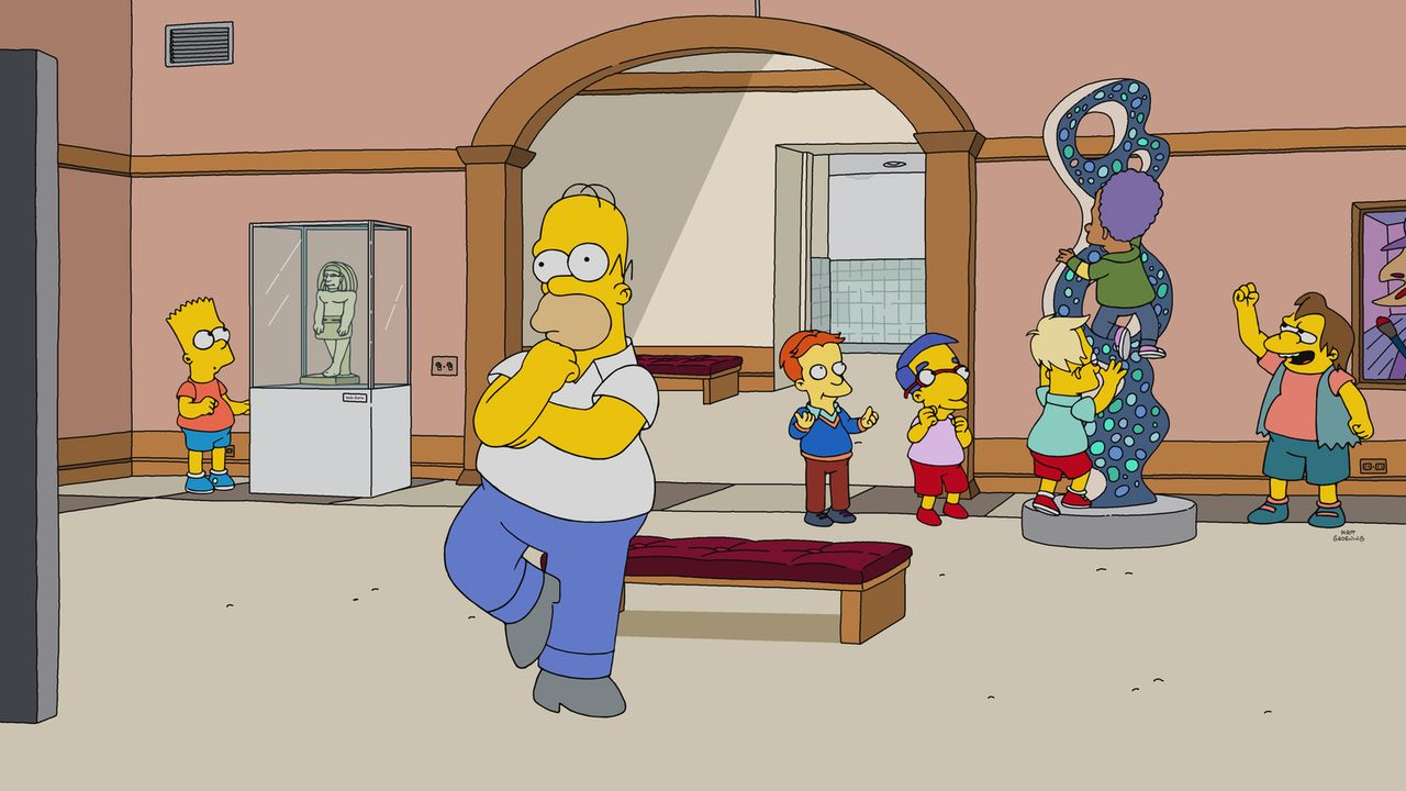 Ihr letzter Besuch im Kunstmuseum in Springfield: Bart (l.), Homer (2.v.l.), Milhouse (M.) und Nelson (r.) ... - Bildquelle: 2017-2018 Fox and its related entities.  All rights reserved.