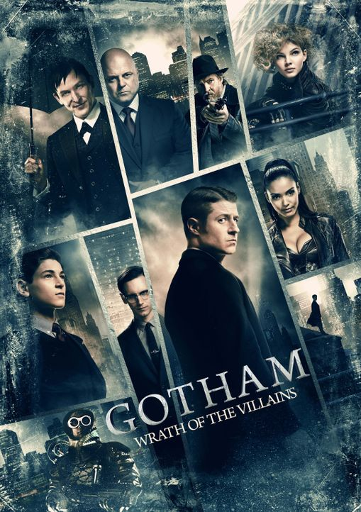 (2. Staffel) - Gotham: Bruce Wayne (David Mazouz, l.), Edward Nygma (Cory Michael Smith, oben l.), Gordon (Ben McKenzie, unten 2.v.r.), Penguin (Rob... - Bildquelle: Warner Brothers