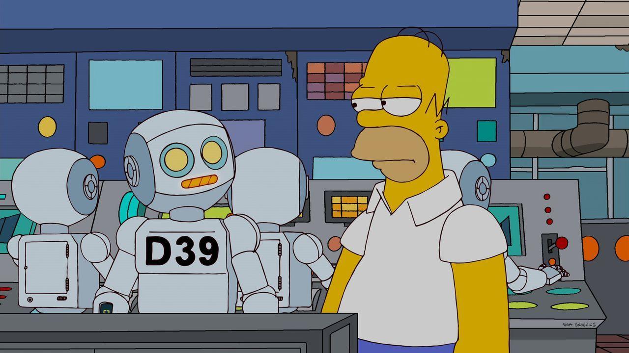Homer (r.) versucht, sich mit seinen neuen Kollegen, den Robotern anzufreunden, jedoch ohne Erfolg ... - Bildquelle: und TM Twentieth Century Fox Film Corporation - Alle Rechte vorbehalten